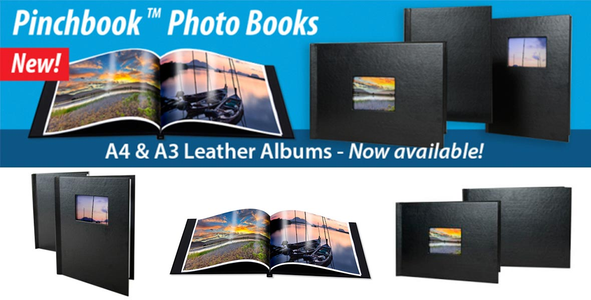 New A4 and A3 Leather Pinchbook Photo Books