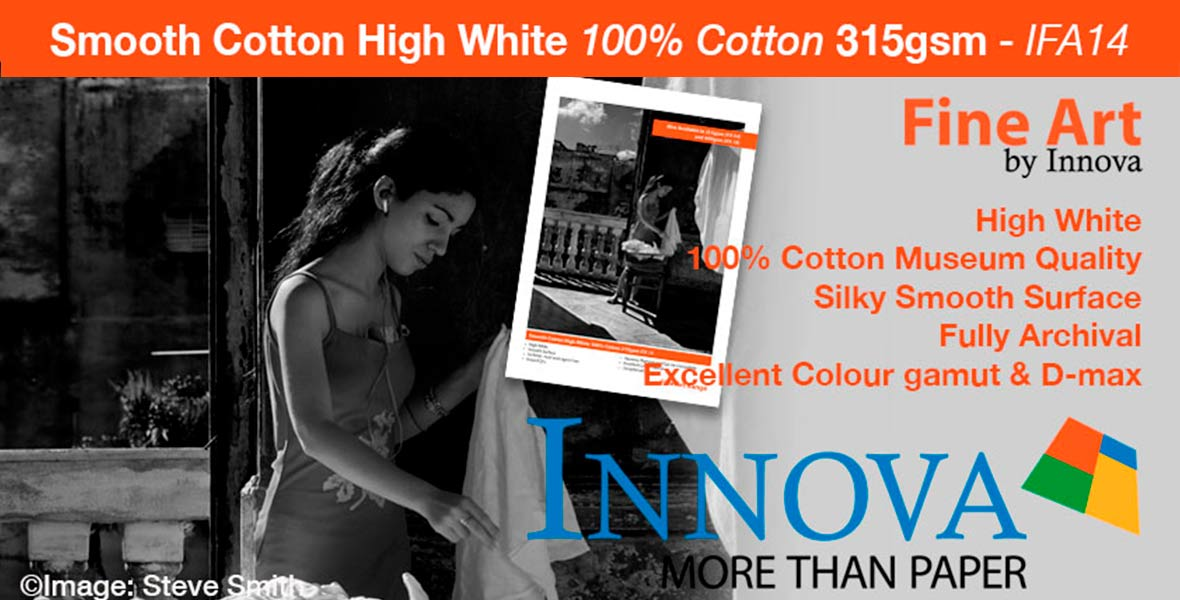 Innova Smooth Cotton High White 100% Cotton 315gsm IFA 14 Archival Fine Art Inkjet Paper