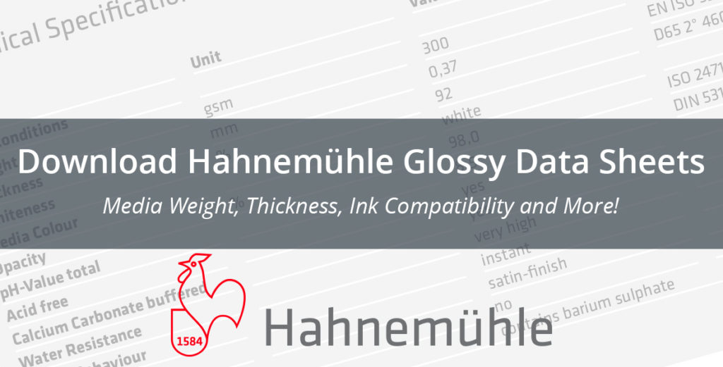 Download Hahnemuhle Glossy Data Sheets